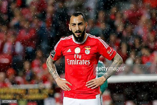 Benfica's forward Kostas Mitroglou readts during the Portuguese League football match between SL Benfica and Vitoria Setubal at Luz Stadium in Lisbon...