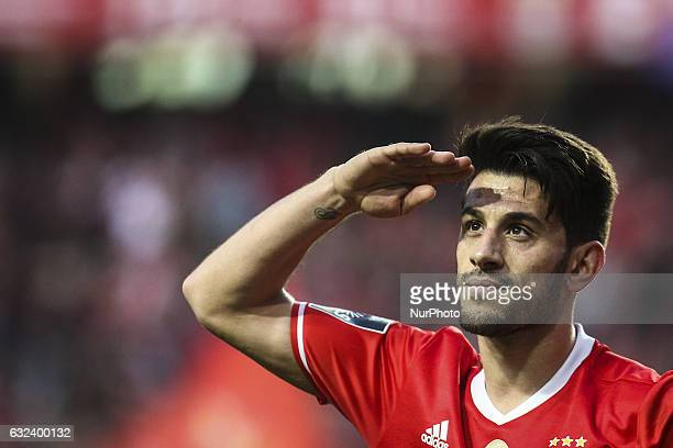 Benfica's forward Luis Fernandes 'Pizzi' celebrates after scoring during the Portuguese League football match between SL Benfica and CD Tondela at...