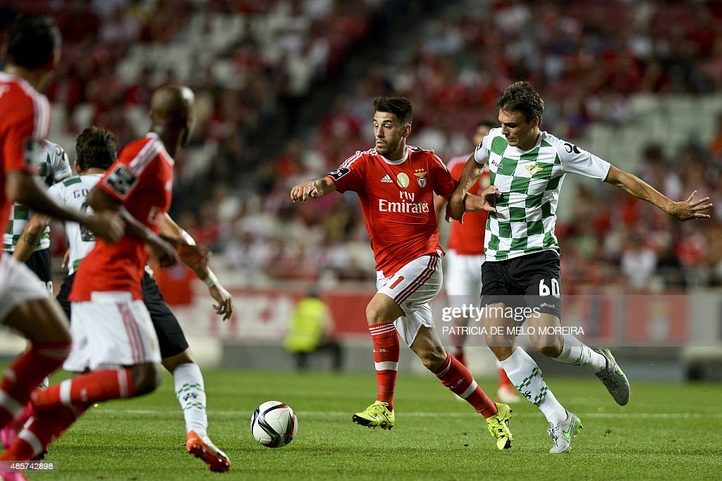 Benfica's forward Luis Fernandes 'Pizzi' (L) vies with Moreirense's midfielder Joao Palhinha (R) during the Portuguese league football match SL Benfica vs Moreirense FC at Luz stadium in Lisbon on August 29, 2015.