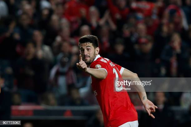 Benfica's forward Pizzi celebrates his goal during Primeira Liga 2017/18 match between SL Benfica vs GD Chaves in Lisbon on January 20 2018