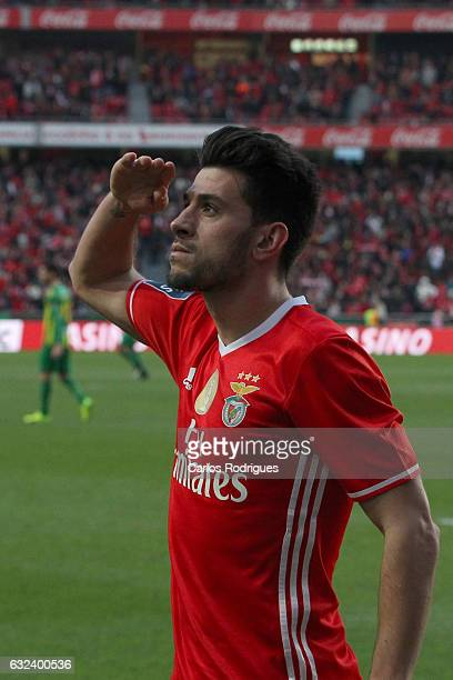 Benfica's forward Pizzi from Portugal celebrates scoring Benfica first goal during the match between SL Benfica v Tondela Primeira Liga at Estadio da...
