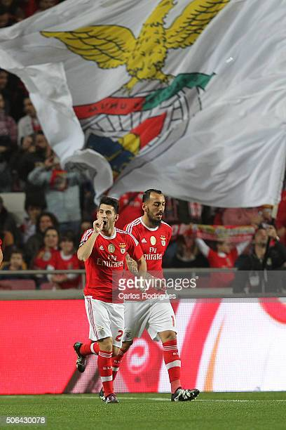 Benfica's forward Pizzi from Portugal celebrates scoring Benfica«s first goal during the match between SL Benfica and FC Arouca at Estadio da Luz on...