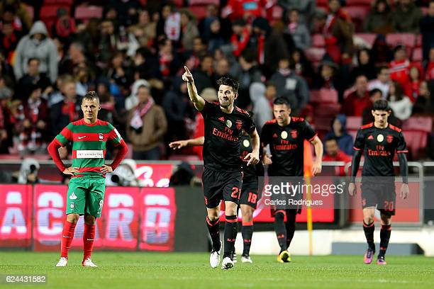 Benfica's forward Pizzi from Portugal celebrates scoring Benfica«s second goal during the SL Benfica v CS Maritimo Portuguese Cup round 4 match at...