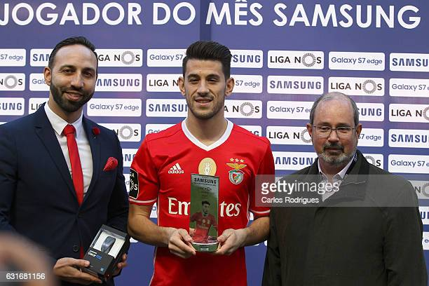 Benfica's forward Pizzi from Portugal receive Player of the month before the match between SL Benfica and Boavista FC for the Portuguese Primeira...