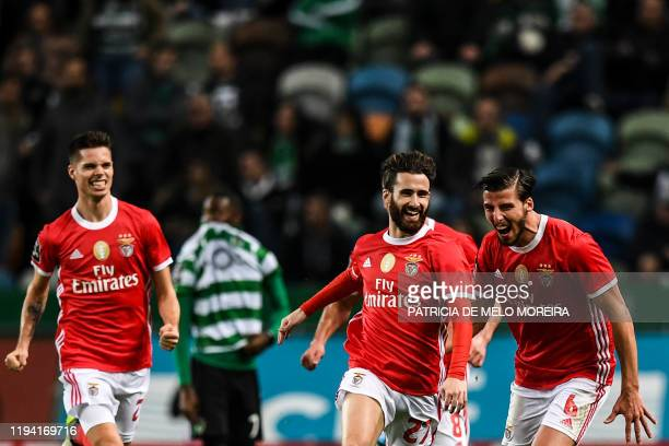 Benfica's forward Rafa da Silva celebrates after scoring a goal during the Portuguese league football match between Sporting CP and SL Benfica at the...