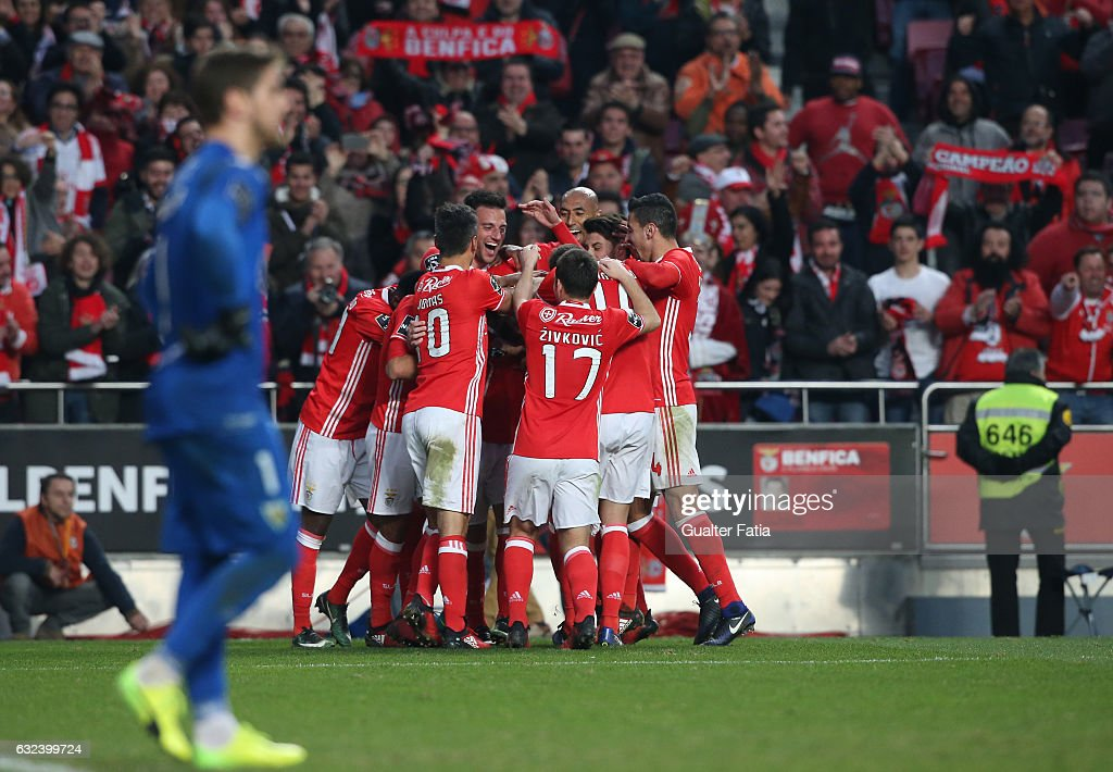 SL BenficaÕs forward Rafa Silva celebrates with teammates after scoring a goal during the Primeira Liga match between SL Benfica and CD Tondela at Estadio da Luz on January 22, 2017 in Lisbon, Portugal.