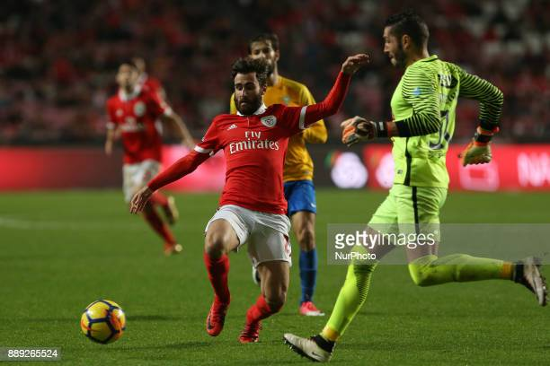 Benficas forward Rafa Silva from Portugal and GD Estoril Praia goalkeeper Moreira from Portugal during the Premier League 2017/18 match between SL...