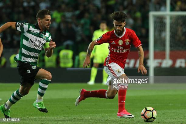 Benficas forward Rafa Silva from Portugal and Sportings midfielder Adrien Silva from Portugal during Premier League 2016/17 match between Sporting CP...