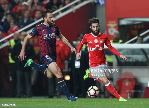 Benfica's forward Rafa Silva with Chaves's defender Pedro Queiros from Portugal in action during the Primeira Liga match between SL Benfica and GD...