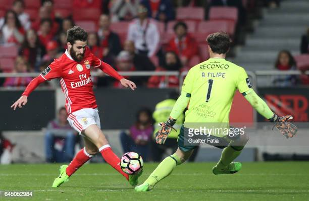 Benfica's forward Rafa Silva with Chaves's goalkeeper Antonio Filipe from Portugal in action during the Primeira Liga match between SL Benfica and GD...