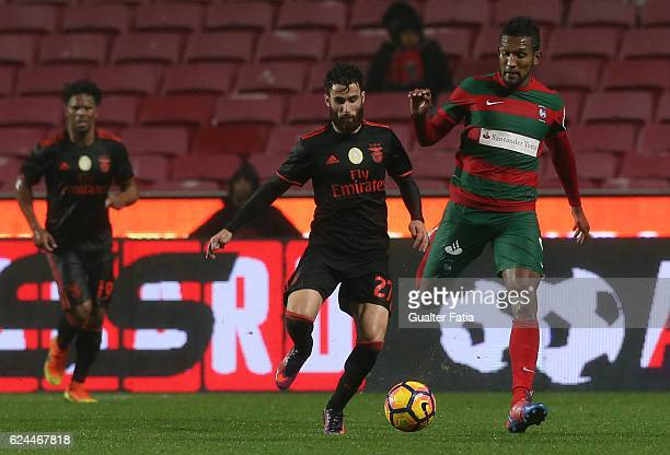 Benfica's forward Rafa Silva with CS Maritimo's forward Dyego Souza from Brazil in action during the Portuguese Cup match between SL Benfica and CS...
