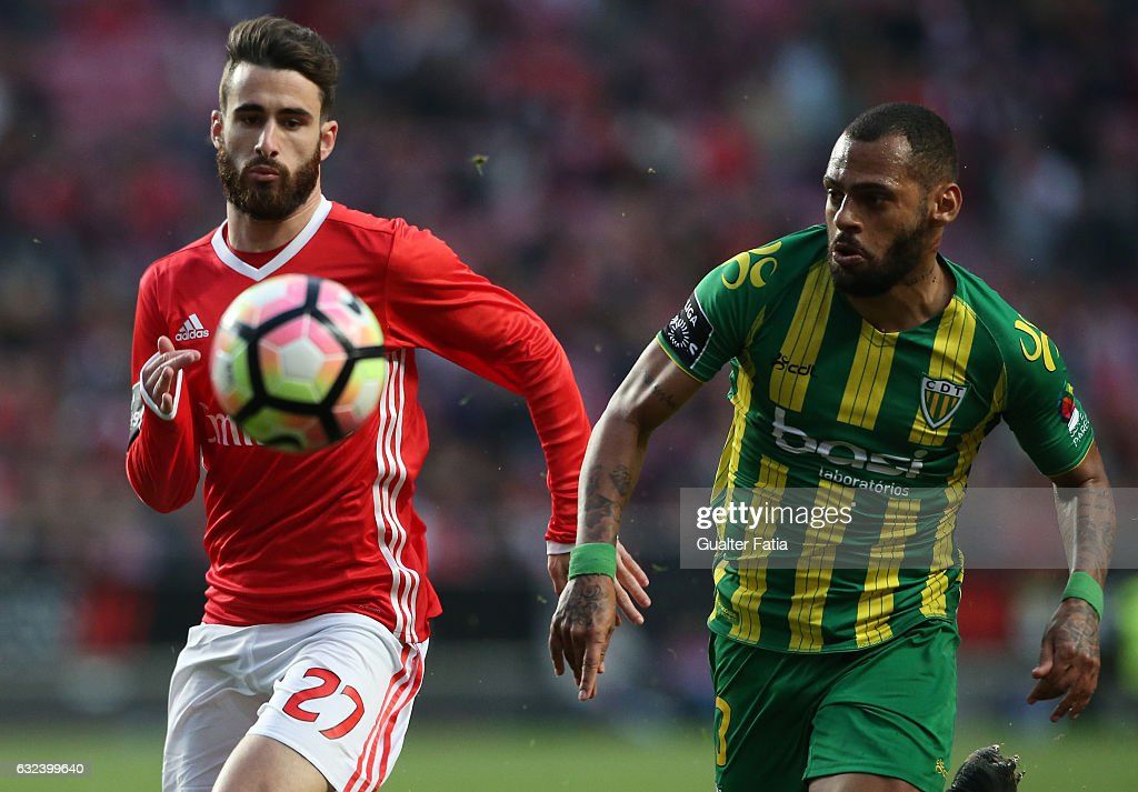 SL BenficaÕs forward Rafa Silva (L) with Tondela's defender Jailson from Brasil (R) in action during the Primeira Liga match between SL Benfica and CD Tondela at Estadio da Luz on January 22, 2017 in Lisbon, Portugal.