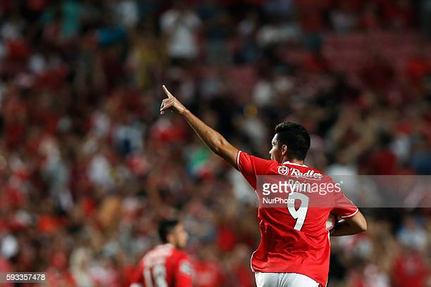 Benfica's forward Raul Jimenez celebrates his goal during the Portuguese League football match between SL Benfica and Vitoria Setubal at Luz Stadium...