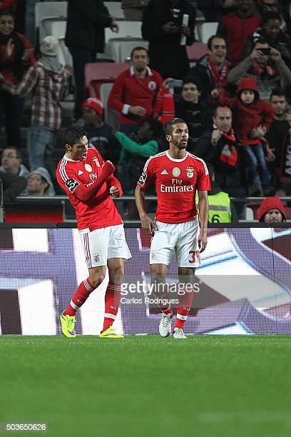 Benfica's forward Raul Jimenez celebrates scoring Benfica«s third goal during the match between SL Benfica and CS Maritimo at Estadio da Luz on...