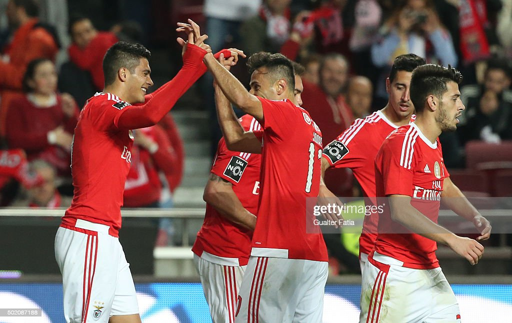 SL Benfica's forward Raul Jimenez celebrates with teammate Jonas after scoring a goal during the Primeira Liga match between SL Benfica and Rio Ave FC at Estadio da Luz on December 20, 2015 in Lisbon, Portugal.