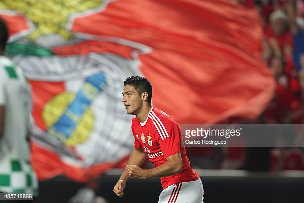 Benfica's forward Raul Jimenez celebrating scoring Benfica«s first goal during the match between SL Benfica and Moreirense FC at Estadio da Luz on...