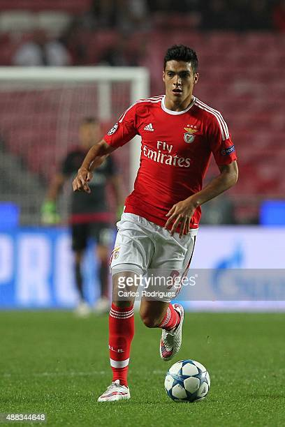 Benfica's forward Raul Jimenez during the match between SL Benfica and FC Astana for the UEFA Champions League at Estadio da Luz on August 29 2015 in...