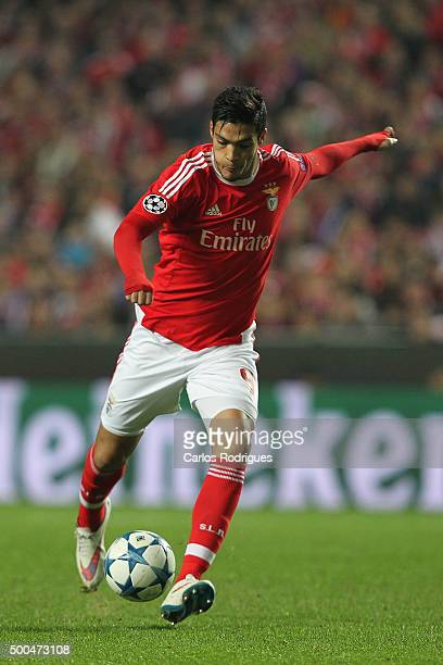 Benfica's forward Raul Jimenez during the match between SL Benfica and Club Atletico de Madrid for the UEFA Champions League at Estadio da Luz on...