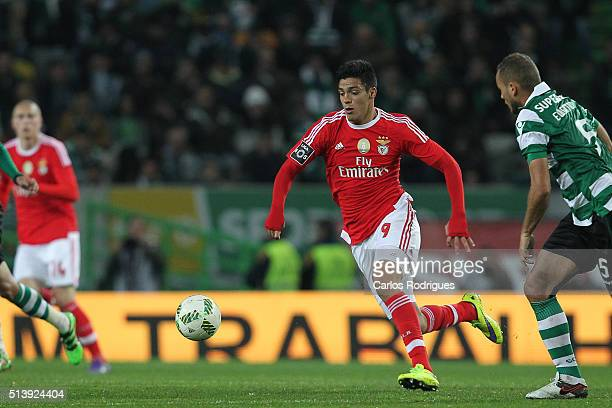 Benfica's forward Raul Jimenez during the match between Sporting CP and SL Benfica for the Portuguese Primeira Liga at Jose Alvalade Stadium on March...