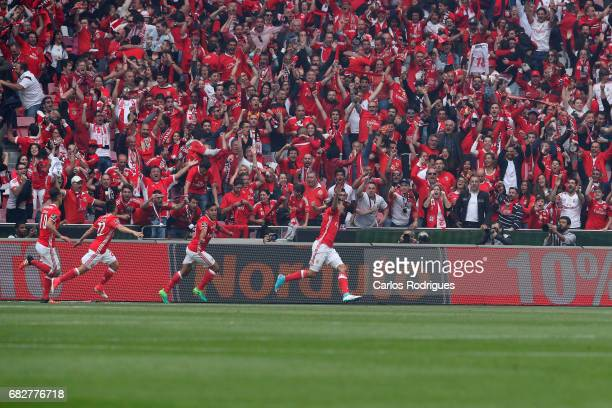 Benfica's forward Raul Jimenez from Mexico celebrate scoring Benfica second goal during the match between SL Benfica and Vitoria SC for the...