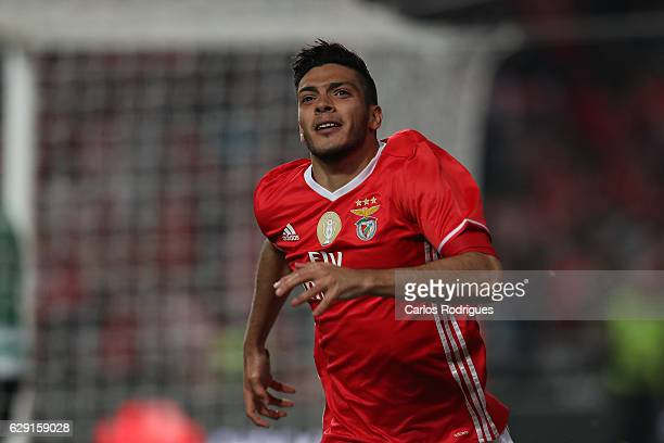 Benfica's forward Raul Jimenez from Mexico celebrates scoring Benfica second goal during the match between SL Benfica v Sporting CP for the...