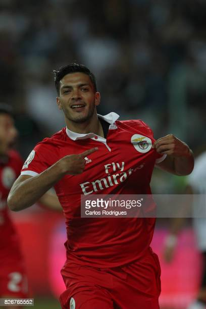Benfica's forward Raul Jimenez from Mexico celebrates scoring Benfica third goal during the match between SL Benfica and VSC Guimaraes at Estadio...