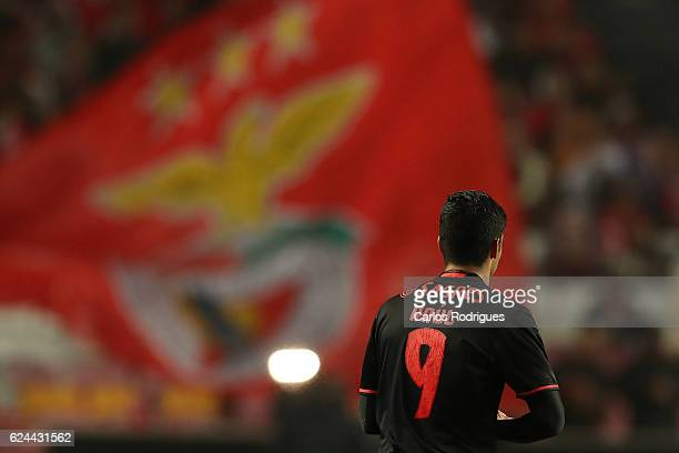Benfica's forward Raul Jimenez from Mexico celebrates scoring Benfica«s fifth goal during the SL Benfica v CS Maritimo Portuguese Cup round 4 match...