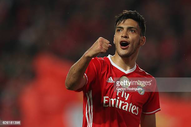 Benfica's forward Raul Jimenez from Mexico celebrates scoring Benfica«s third goal during the match between SL Benfica v Moreirense FC Primeira Liga...