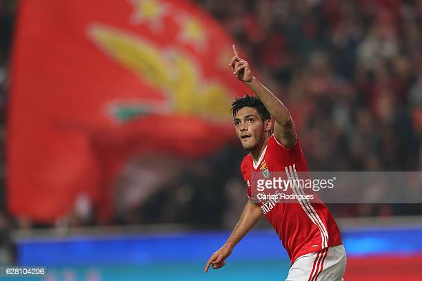 Benfica's forward Raul Jimenez from Mexico celebrates scoring Benfica«s goal during the UEFA Champions League group B match between SL Benfica v SSC...
