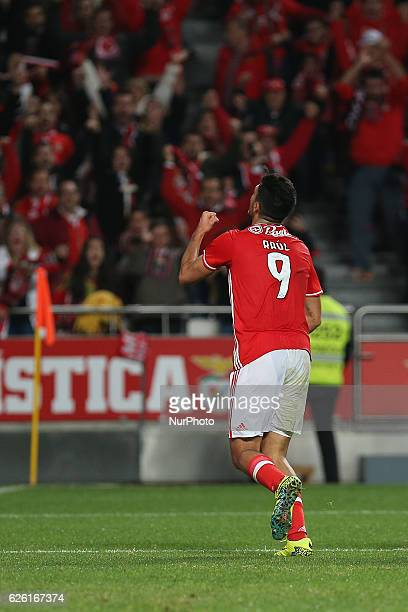 Benficas forward Raul Jimenez from Mexico celebrating after scoring a goal during Premier League 2016/17 match between SL Benfica and Moreirense FC...