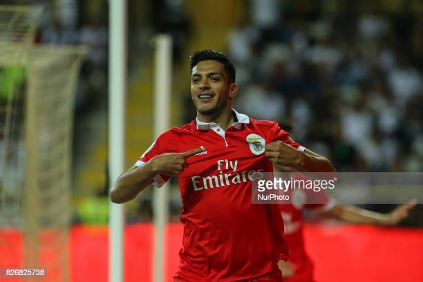 Benficas forward Raul Jimenez from Mexico celebrating after scoring a goal during the Candido Oliveira Super Cup match between SL Benfica and Vitoria...