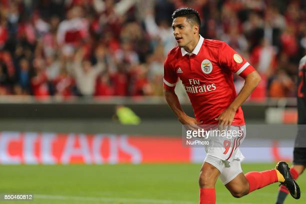 Benficas forward Raul Jimenez from Mexico celebrating after scoring a goal during the Portuguese Cup 2017/18 match between SL Benfica v SC Braga at...