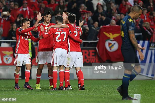 Benficas forward Raul Jimenez from Mexico celebrating with is team mate after scoring a goal during Premier League 2016/17 match between SL Benfica...