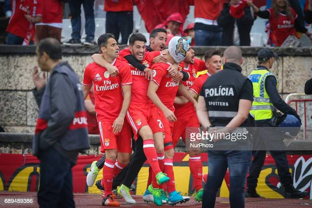 Benficas forward Raul Jimenez from Mexico celebrating with is team mate after scoring the first goal of the match between SL Benfica and Vitoria SC...