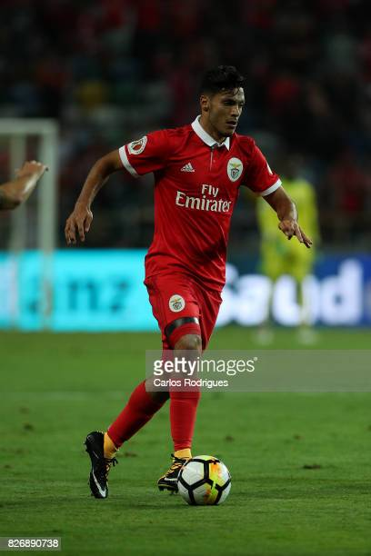 Benfica's forward Raul Jimenez from Mexico during the match between SL Benfica and VSC Guimaraes at Estadio Municipal de Aveiro on August 05 2017 in...