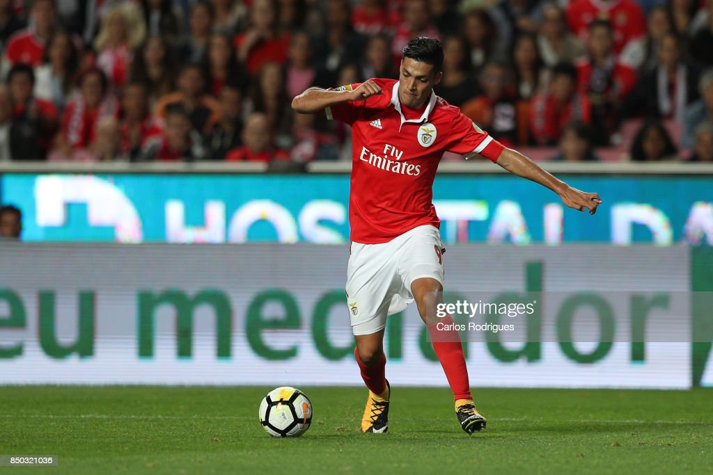 Benfica's forward Raul Jimenez from Mexico during the match between SL Benfica and SC Braga for the Portuguese Taca da Liga at Estadio da Luz on September 20, 2017 in Lisbon, Portugal.