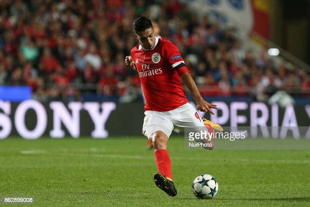 Benficas forward Raul Jimenez from Mexico during the match between SL Benfica v Manchester United FC UEFA Champions League playoff match at Luz...