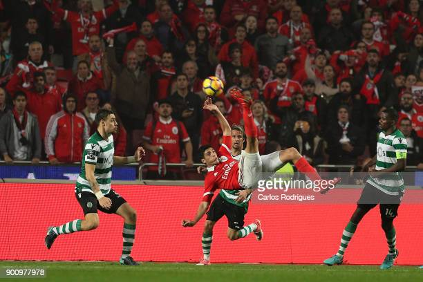 Benfica's forward Raul Jimenez from Mexico during the match between SL Benfica and Sporting CP for the Portuguese Primeira Liga at Estadio da Luz on...