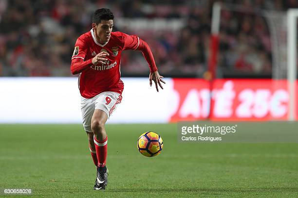 Benfica's forward Raul Jimenez from Mexico during the SL Benfica v FC Pacos de Ferreira Portuguese Cup at Estadio da Luz on December 29 2016 in...