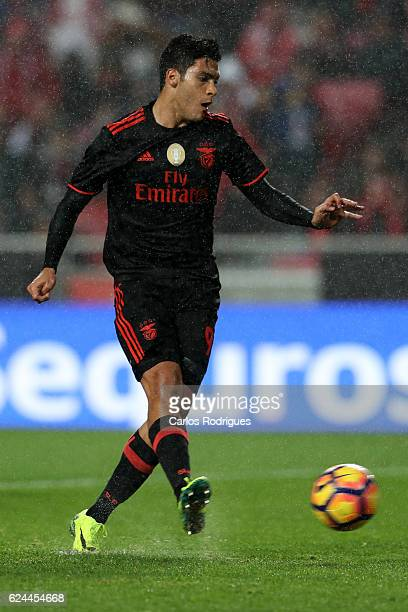 Benfica's forward Raul Jimenez from Mexico during the SL Benfica v CS Maritimo Portuguese Cup round 4 match at Estadio da Luz on November 19 2016 in...