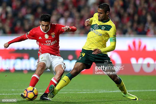 Benfica's forward Raul Jimenez from Mexico vies with Pacos Ferreira's defender Ricardo from Brazil during the SL Benfica v FC Pacos de Ferreira...