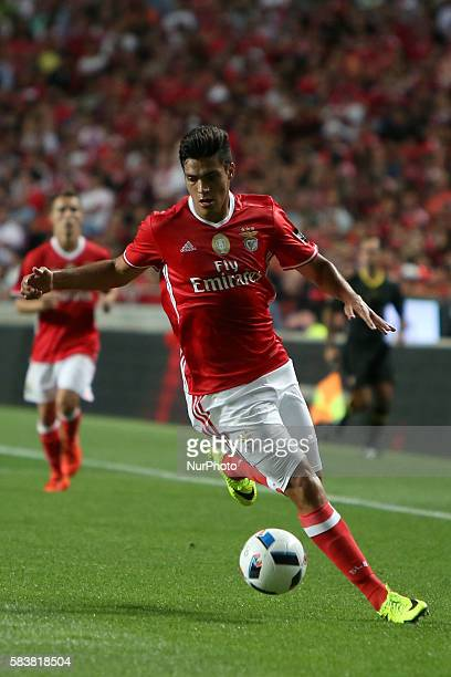 Benfica's forward Raul Jimenez in action during the Eusebio Cup football match between SL Benfica and Torino FC at the Luz stadium in Lisbon Portugal...