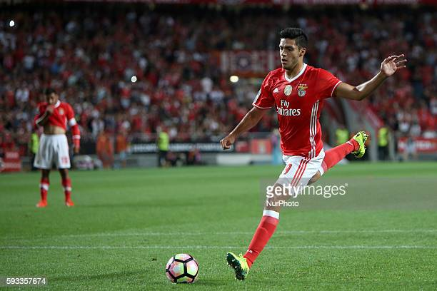 Benfica's forward Raul Jimenez in action during the Portuguese League football match SL Benfica vs Vitoria Setubal FC at Luz stadium in Lisbon on...