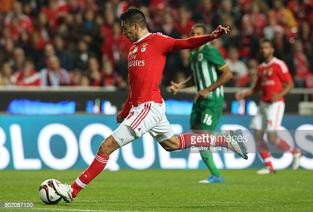 Benfica's forward Raul Jimenez in action during the Primeira Liga match between SL Benfica and Rio Ave FC at Estadio da Luz on December 20 2015 in...