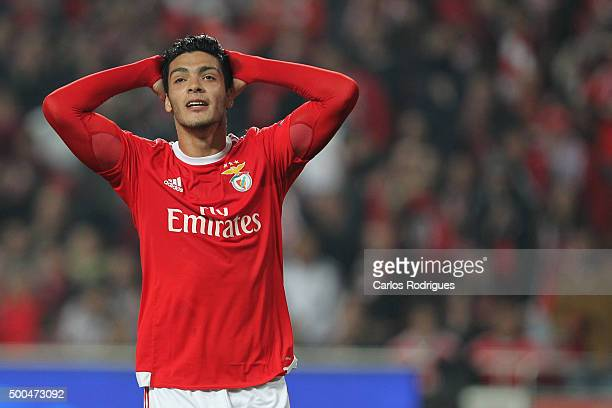 Benfica's forward Raul Jimenez reacts during the match between SL Benfica and Club Atletico de Madrid for the UEFA Champions League at Estadio da Luz...
