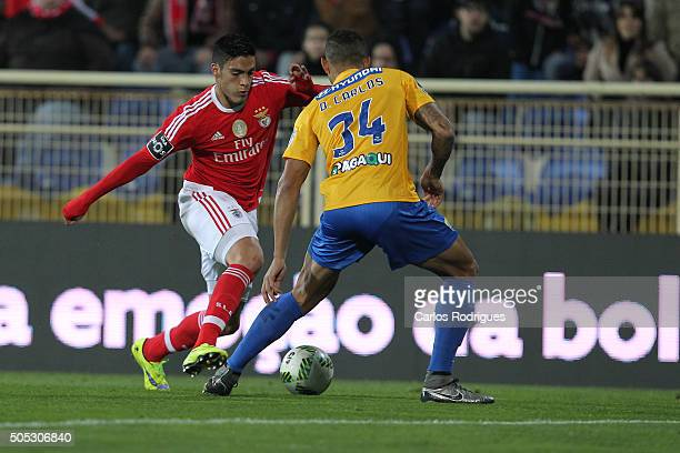 Benfica's forward Raul Jimenez vies with Estoril's defender Diego Carlos during the match between GD Estoril and SL Benfica for the Portuguese...