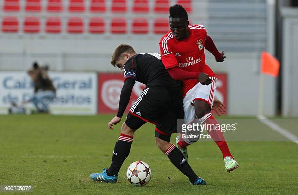 Benfica's forward Romario Balde with Bayer Leverkusen's midfielder Marlon Frey during the UEFA Youth League match between SL Benfica and Bayer...