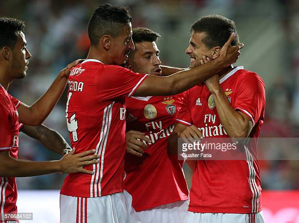 Benfica's forward Rui Fonte celebrates with teammates SL Benfica's defender Andre Almeida SL Benfica's midfielder Pizzi and SL Benfica's midfielder...