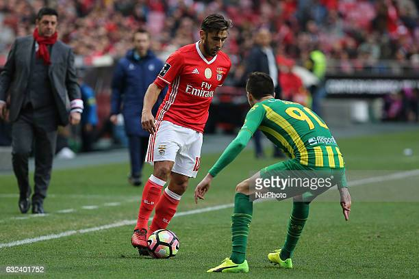 Benficas forward Toto Salvio from Argentina and Tondela's defender Ruca from Portugal during the Premier League 2016/17 match between SL Benfica v CD...