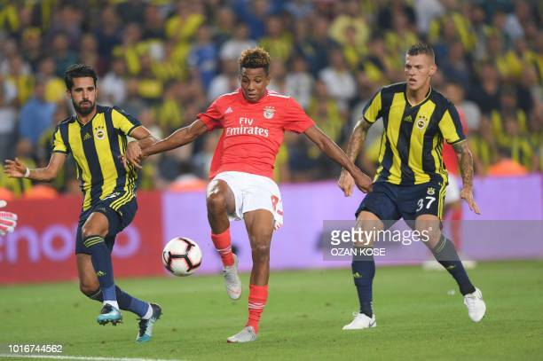 Benfica's Gebson Fernandes kicks the ball to goal past Fenerbahce's Alper Potuk and Martin Skrtel during UEFA Champions league third round second leg...
